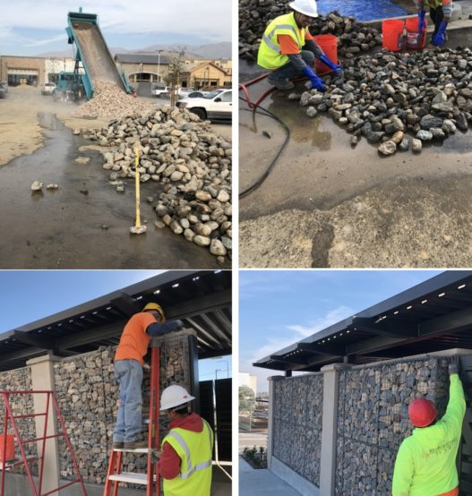 Weinstein Construction installing decorative gabion