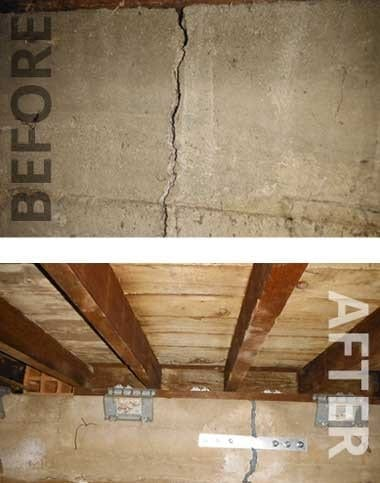 House Foundation Crack Repair Before & After