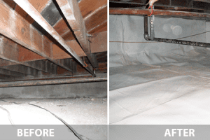 Crawl Space Repair before and after