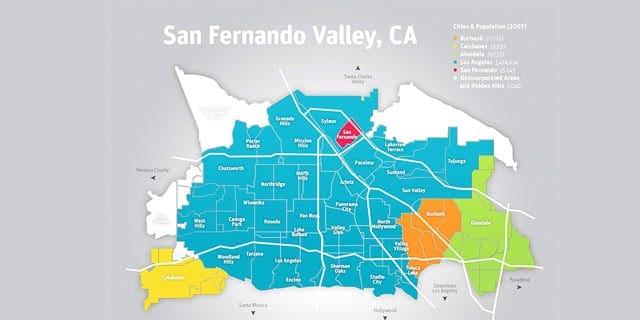 San Fernando Valley CA Map